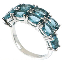 26x8mm 2021 New Arrival Created London Blue Topaz For Women Dating Present Silver Rings