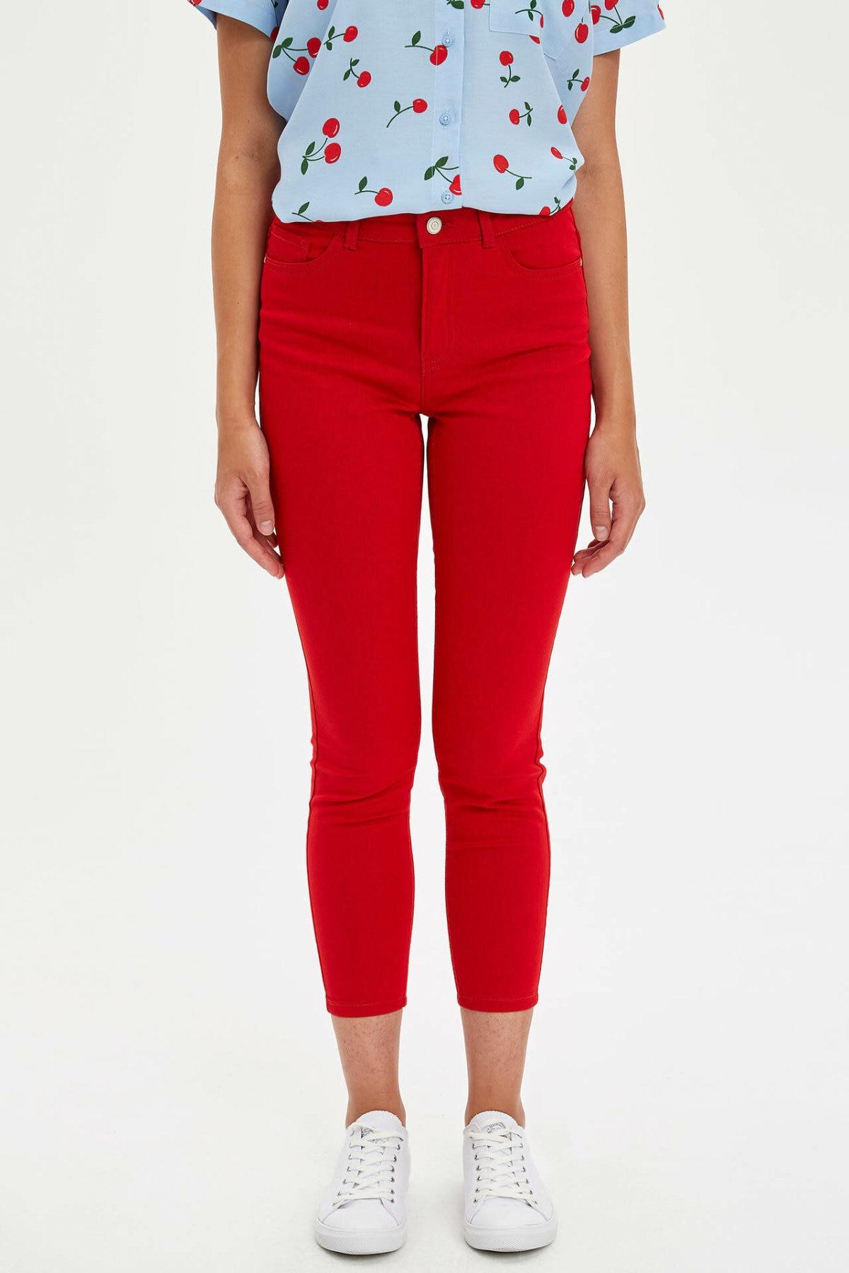 DeFacto Woman Red Skinny Pencil Pants Women Mid-waist Ninth Pants Female Casual Slim Trousers-L5558AZ19HS