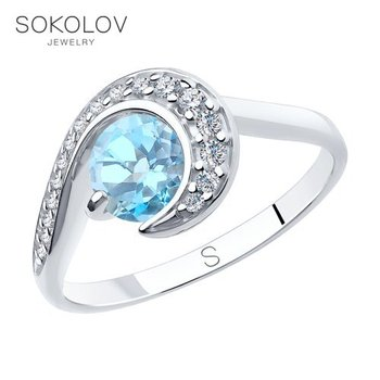 Sokolov silver ring with Topaz and cubic zirconia, fashion jewelry, 925, women's/men's, male/female, women's male