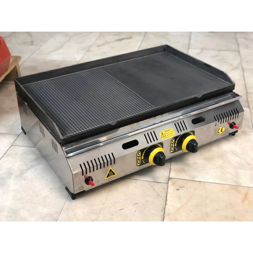 Commercial Cast Iron Non Stick Grooved And Flat 2 Compartment GAS Grill Griddle BBQ Outdoor Hot Plate Cooking  Barbecue Machine