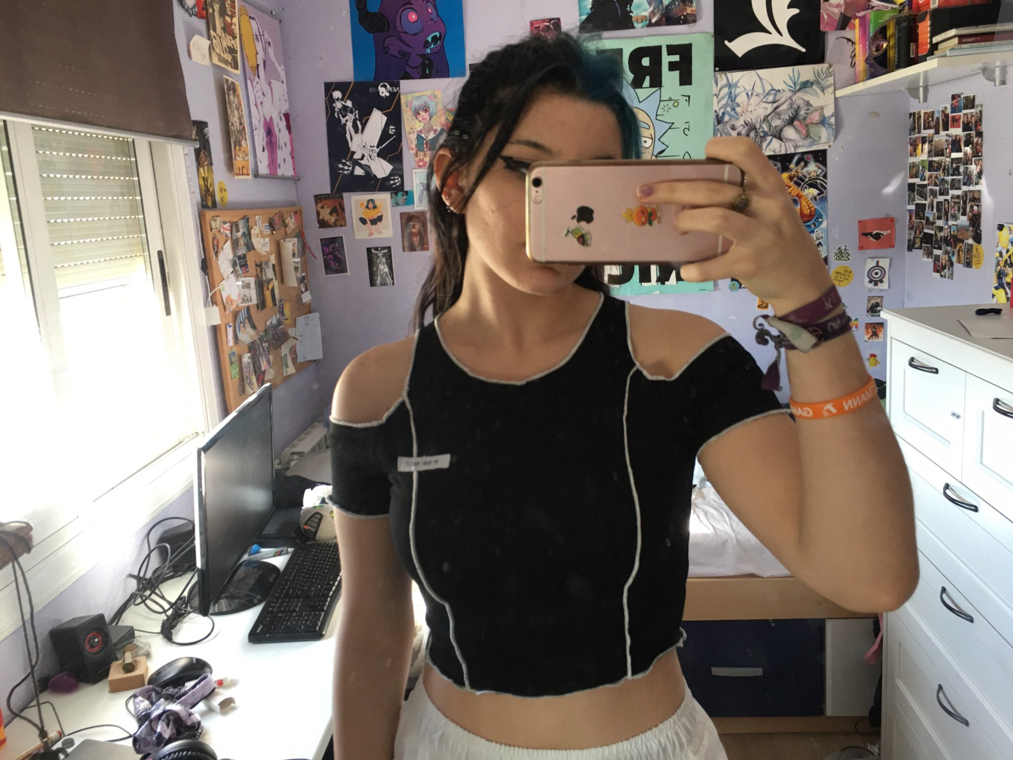 E-girl / Gothic Style Off Shoulder Crop Top photo review