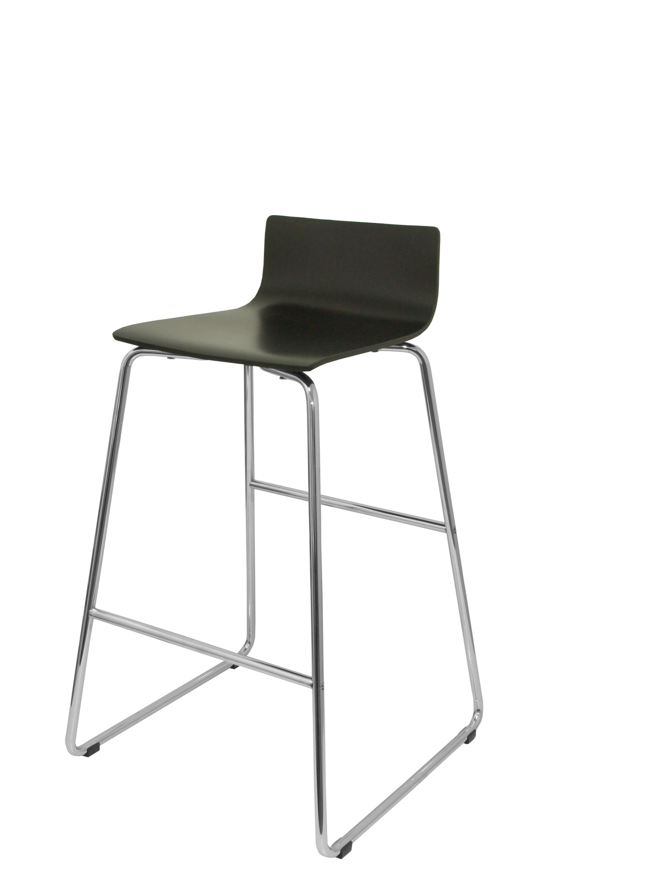 Stool Vending With Chrome Bold Structure And Dipstick's Foot Pegs-up Seat Black TAPHOLE AND CURLED Colored Wood Model