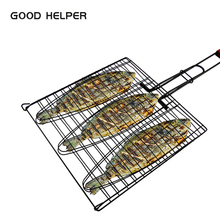 GOOD HELPER Grill Basket BBQ Grilling Basket with Handle for Fish, Vegetables, Steak, Shrimp Stainless Steel Grill Accessories