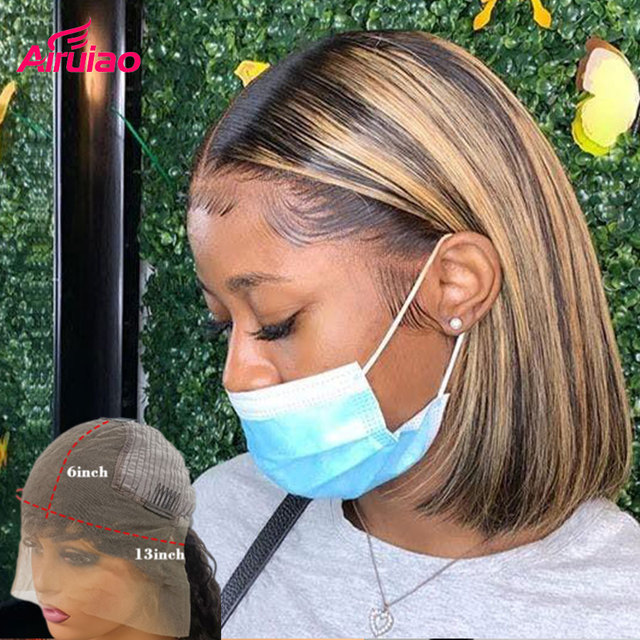 Highlight Honey Blonde Short Bob 13x6 Lace Frontal Human Hair Wigs Colored Lace Front Wig Nature Baby Hair For Full Black Women 1