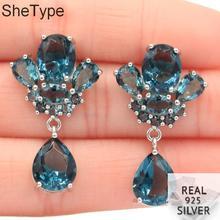 33x19mm 2019 New Arrival 6.64g Dark London Blue Topaz Gift For Girls 925 Solid Sterling Silver Earrings