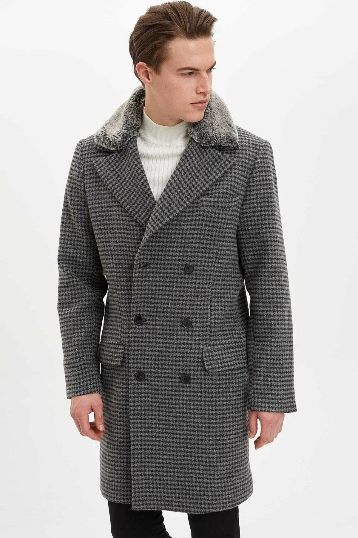 DeFacto Man Fashion Grids Long Parka Men Winter Thick Cotton Coat/Men Stylish Plaids Parka Coats-L3897AZ19WN