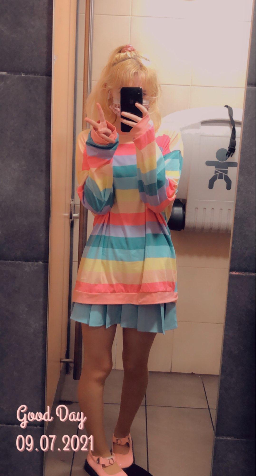 Soft Girl Harajuku Rainbow Striped T-shirt photo review