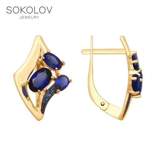 SOKOLOV Drop Earrings With Stones With Stones With Stones In Gold With Blue Corundum And Cubic Zirconia Fashion Jewelry 585 Women's Male
