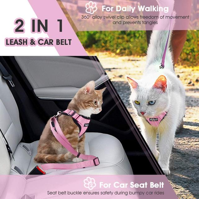 Escape Proof Cat Vest Harness and Car Seat Belt Adapter Adjustable Reflective Harness Soft Mesh Vest Harness for Kitten Puppy 2