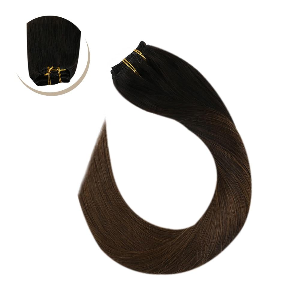 Clip On Hair Extensions Full Head Set Hair Machine Made Remy Brazilian Human Hair 14-24