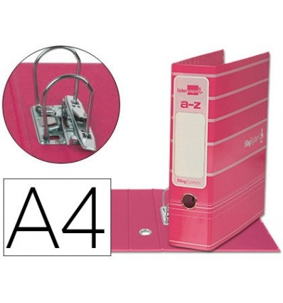 LEVER ARCH FILE LIDERPAP THE A4 FILING SYSTEM LINED WITH RADO LOMO 75MM PINK COMPRESSOR METAL 6 Units