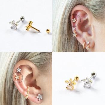 100% 925 Sterling Silver Minimalist Cute Glitter Star Mini Stud Earrings For Woman Girls Lovers' Piercing Fine Jewelry - discount item  42% OFF Fine Jewelry