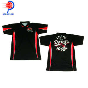 Best Seller Black With Red Stripes 100% polyester Bowling Polo Shirts for Clubs