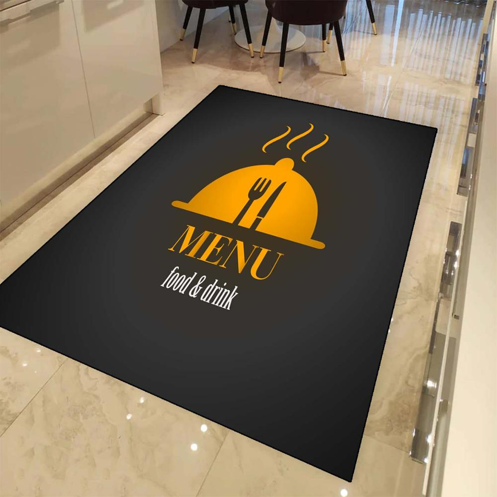 Else Black Yellow Menu Cutlery 3d Print Non Slip Microfiber Kitchen Modern Decorative Washable Area Rug Mat
