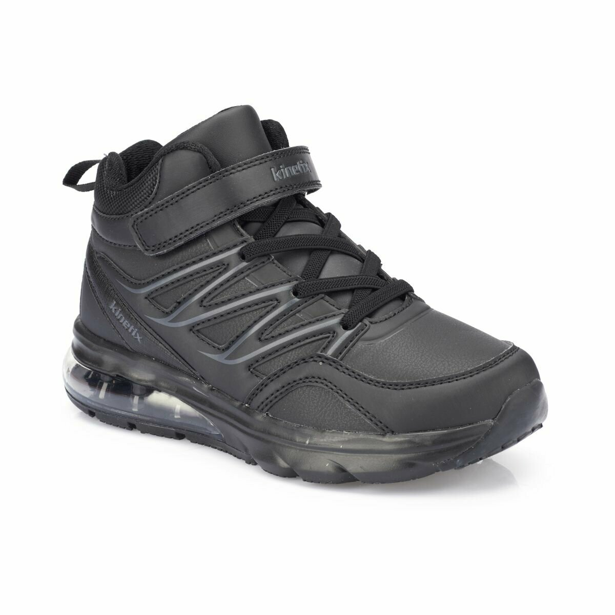 FLO OZONE PU HI J Black Male Child Running Shoes KINETIX