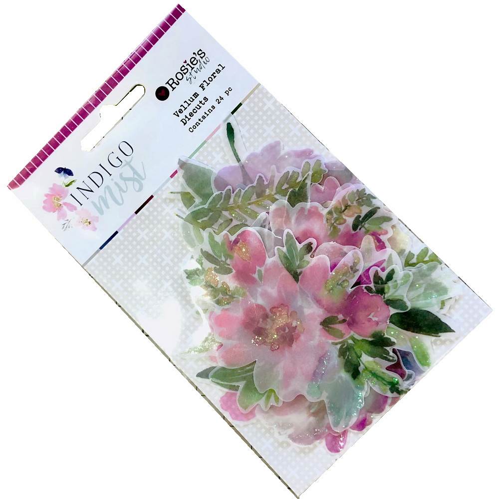 card making and scrapbooking Die cut pink flower card toppers