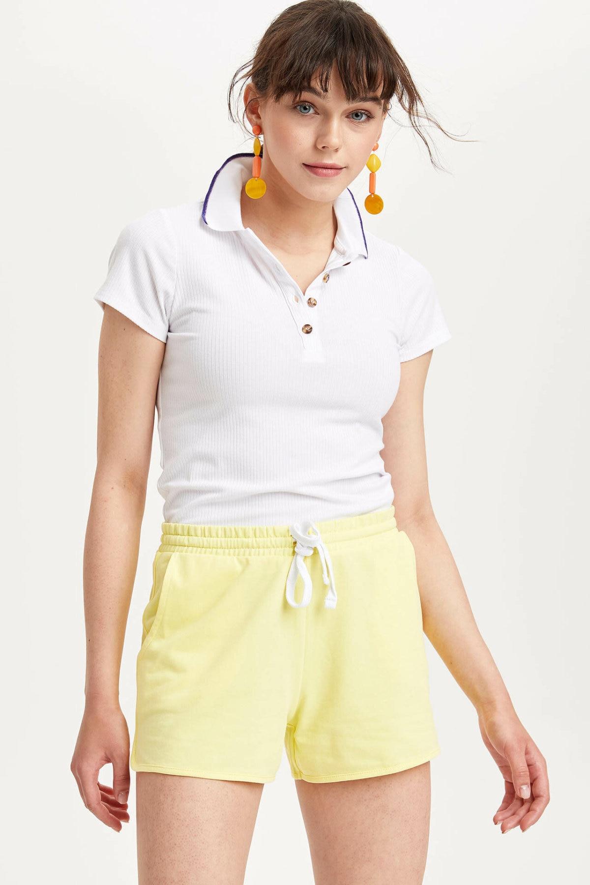 DeFacto Woman Light Yellow Elastic Short Women Summer Shorts Female Sports Shorts-K8634AZ19SM