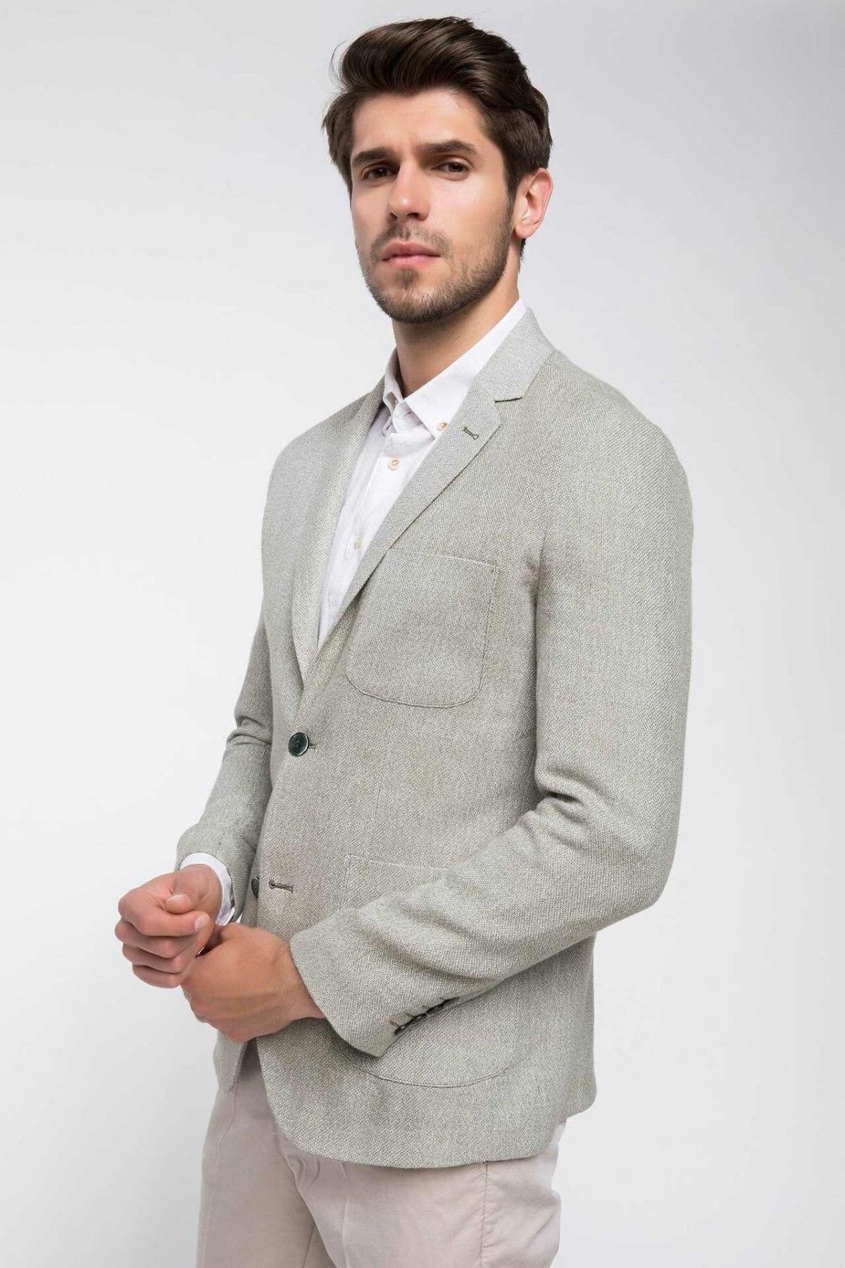 DeFacto Brand Formal Man Fashion Lapel Blazer Men's Light Color Office Coats Autumn Male Casual Simple Suits New - J3837AZ18HS