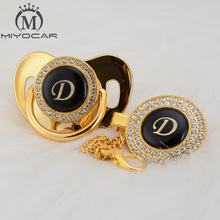 MIYOCAR unique design name Initials letter D lovely bling pacifier and clip set BPA free dummy LD