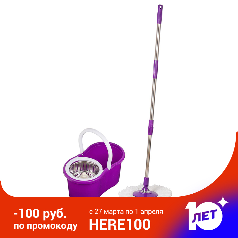 Sokoltec mop bucket hand free wringing stainless steel mop self wet and cleaning system dry cleaning Microfiber mop spin floor
