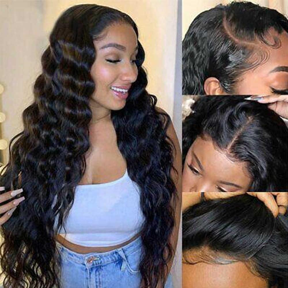 Luźna głęboka fala 13x6 koronki przodu peruki 360 koronki przodu peruka brazylijski ludzki włos peruki 180 wysokiej gęstości dla czarnych kobiet Remy QT