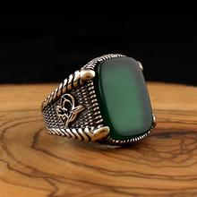 925 Sterling Silver Ring for Men Green Natural Agate Stone O
