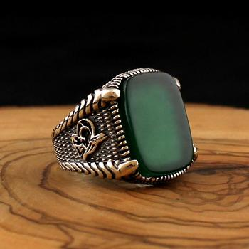цена 925 Sterling Silver Ring for Men Green Natural Agate Stone Onyx Zircon Jewelry fashion vintage Gift Mens Rings All Size women онлайн в 2017 году
