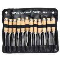 Professional 12Pcs/set Manual Wood Carving Hand Chisel Tool Set Carpenters Woodworking Carving Chisel DIY Detailed Hand Tools