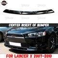Центральная вставка на передний бампер для Mitsubishi Lancer 10 2007-2010, АБС-пластик, аксессуары, покрытие, спортивный коврик, тюнинг автомобиля