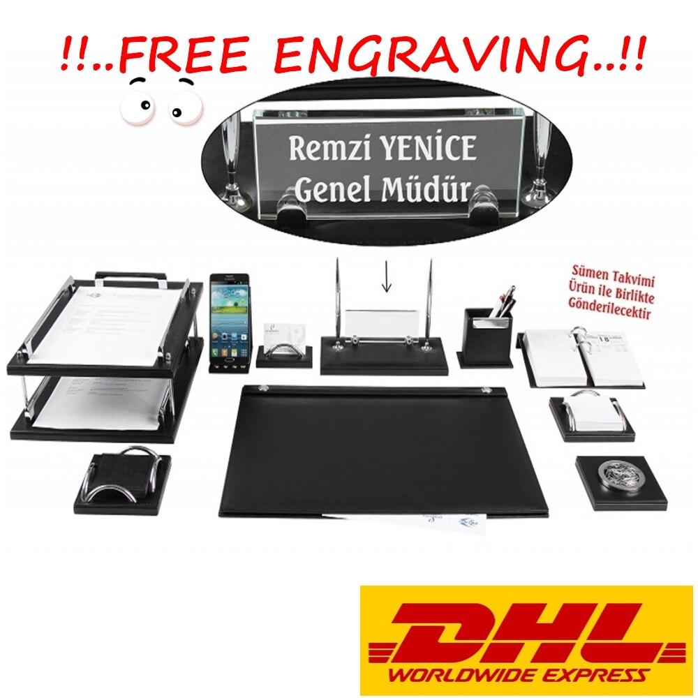 GRAND 12 Pieces Luxury Office Desk Supplies Accessories Black Leather Desk Set Desk Pad Mat Organizer Full Set -FREE ENGRAVING-