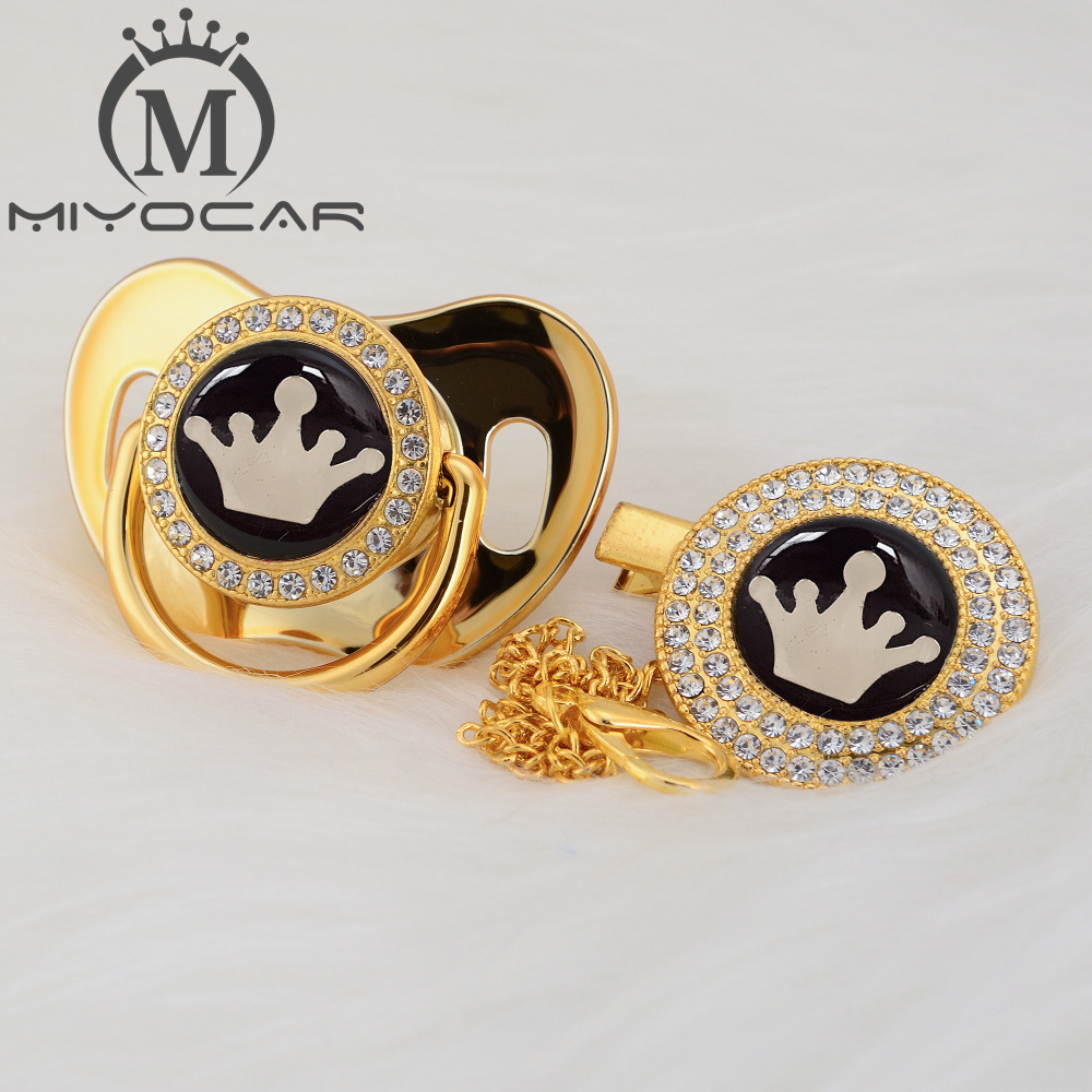 MIYOCAR Gold Crown Lovely Beautiful Gold Bling Crown Pacifier And Pacifier Clip BPA Free Dummy Bling Unique Design GCR-08/9