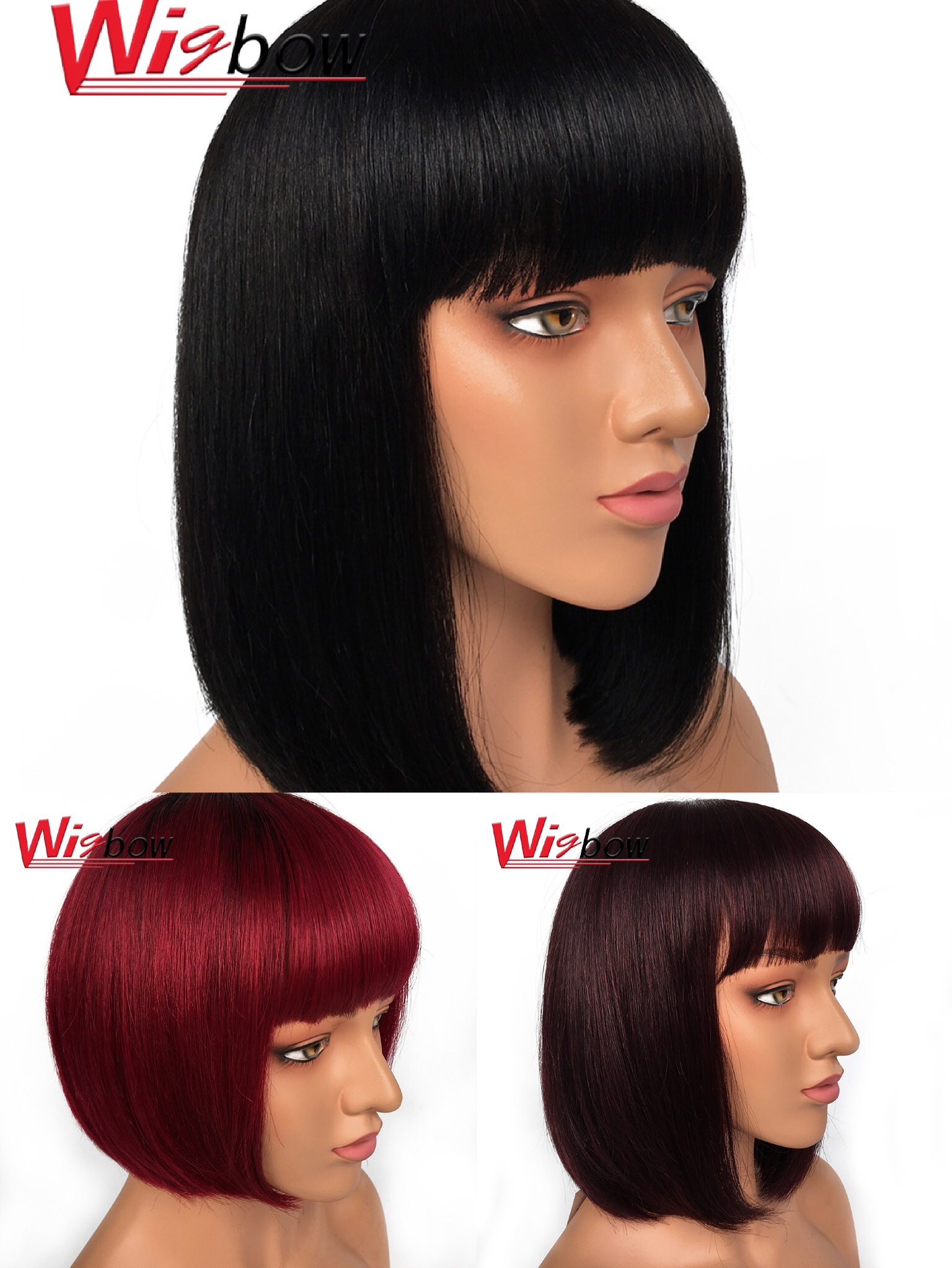 Short Bob Wig Straight Bob With Bangs Human Hair Wigs Peruvian Remy Hair In Color T1B/99J/BG 1B Wigbow Ships For Free