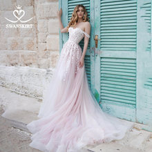 Abito da sposa romantico in pizzo 2020 Appliques rosa Lace Up A-Line Princess Court Train abito da sposa swan N103 Vestido De Noiva