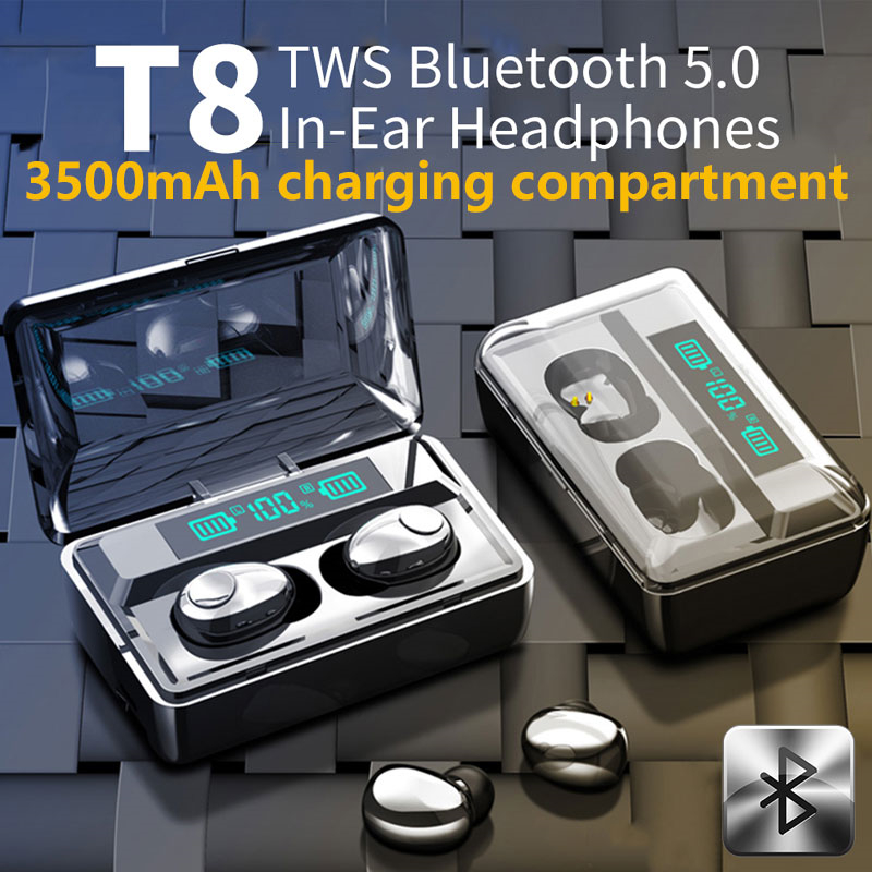 Новый Smart Digital Дисплей Bluetooth 5,0 наушники Беспроводной наушники 9D наушники-вкладыши TWS стерео спортивные Водонепроницаемый наушники с микрофо...