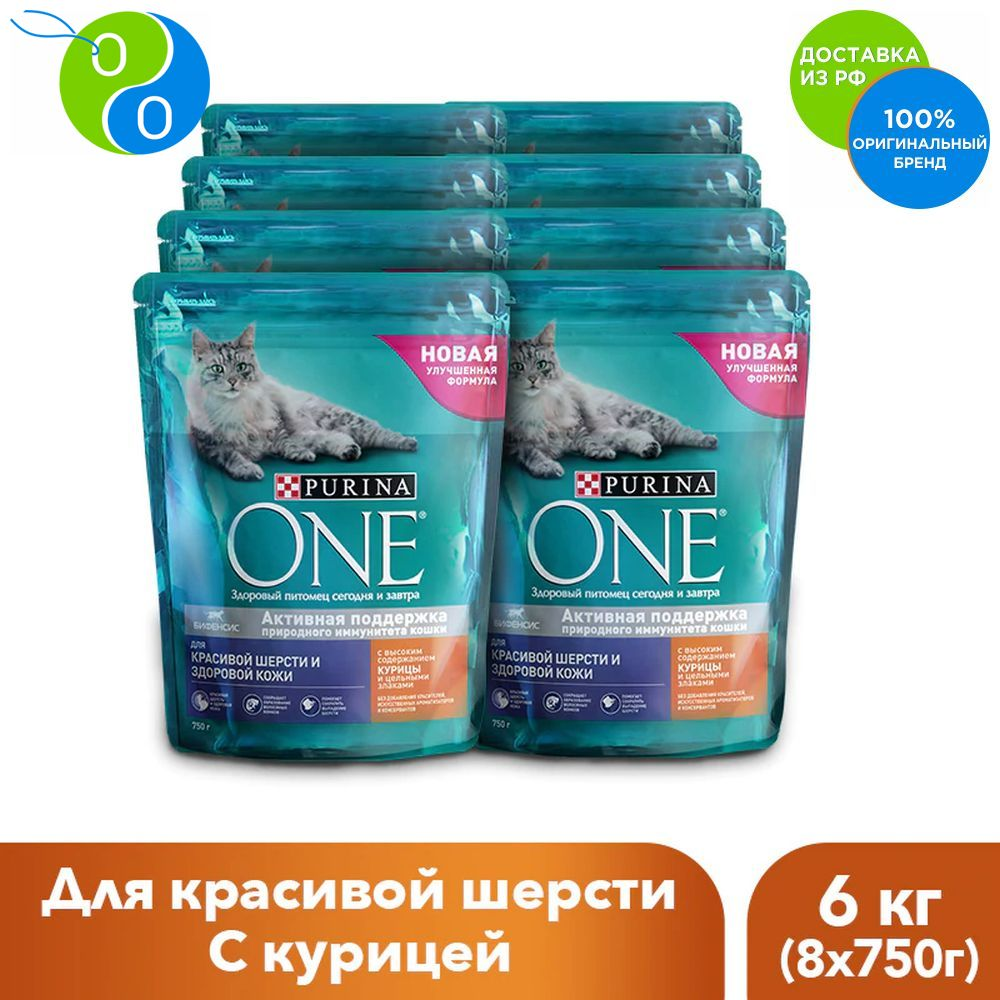 A set of dry food for cats Purina ONE for a beautiful coat and control the formation of clumps of hair with chicken and whole grains, package 750g x 8 pcs.,one mini, ONE MINI, Purina, Purina One, Purina ONE MINI, Purin цена