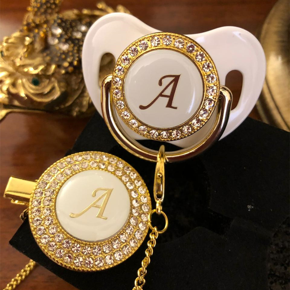 MIYOCAR Gold Silver Name Initials Letter White Elegant A Beautiful Bling Pacifier And Pacifier Clip BPA Free Dummy Bling LA-W
