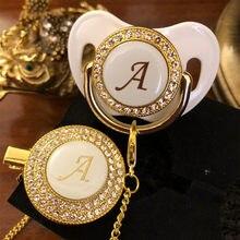 Miyocar chupeta com prendedor dourados, chupeta e prendedor de chupeta branco com letra, nome prateado e dourado, bonito com modelo sem bpa LA-W
