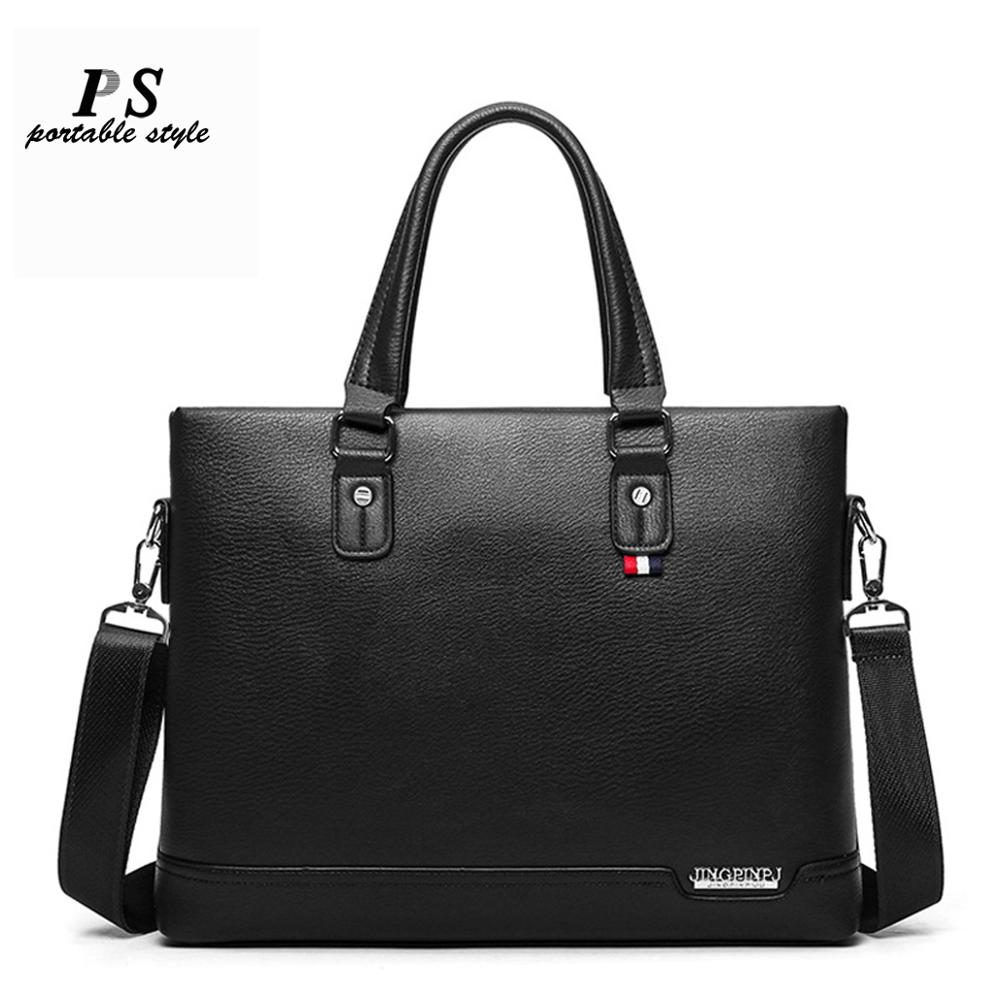 2020 New Men's Briefcase Black Casual Bag Pu Leather Briefcase Men's Tote Bags Brown High Quality Male Business Large Capacity