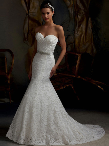 Mermaid Wedding Dress White Lace Fit And Flare Bridal Dress Sweetheart Strapless Train Fishtail Bridal Gown With Detachable Rhin