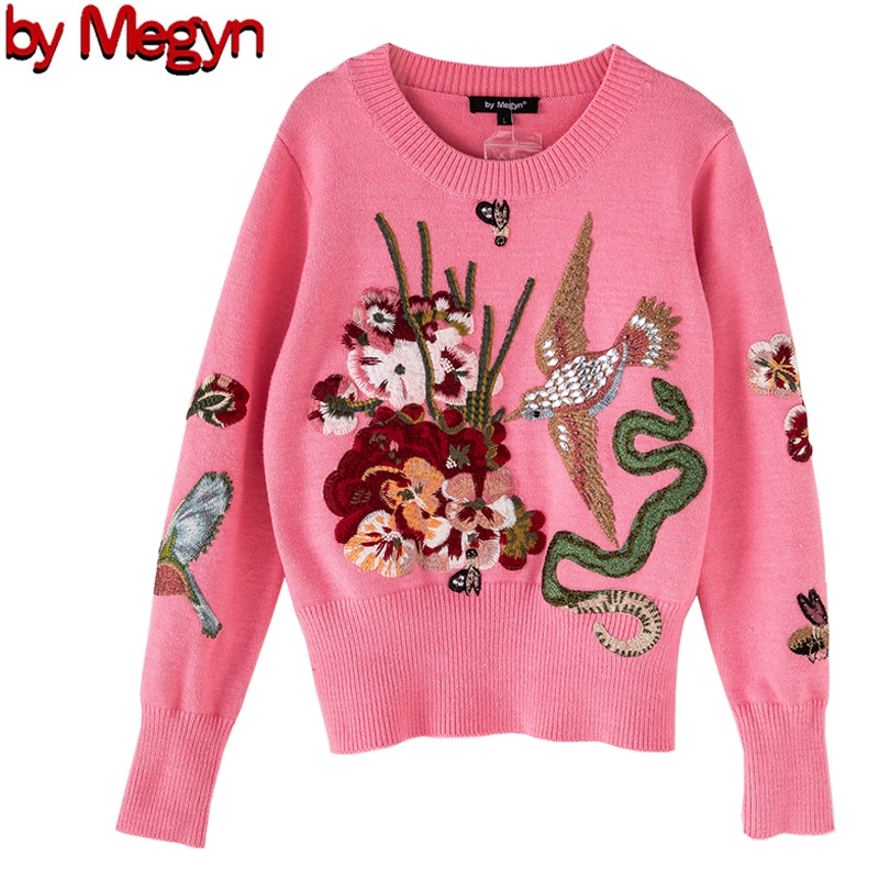 2020 Knitted Women Fashion Pullover Sweater Luxury Blue Beading Bird Ladies Sweater Christmas Runway Pink Blue Sweater Jumper