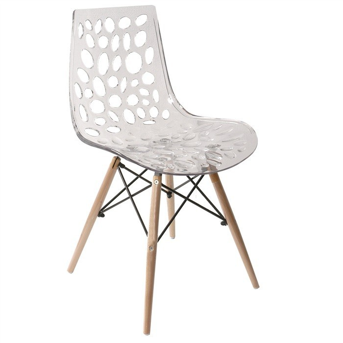 Chair LUISA, Wood, Clear Polycarbonate