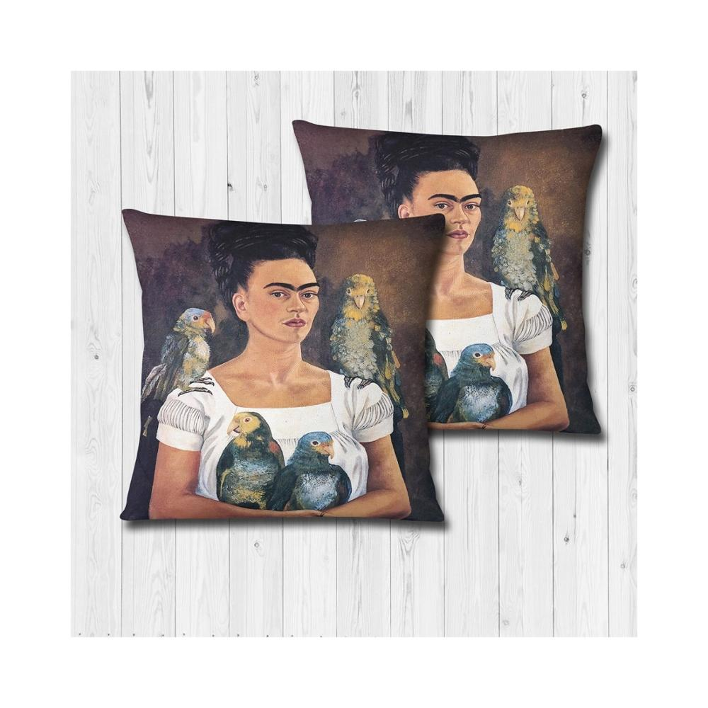 2 Pieces Decorative Cushion 70 X 70 Core Frida Patterned, Floor Pillow Soft Seat Decoration Interior Made In Turkey