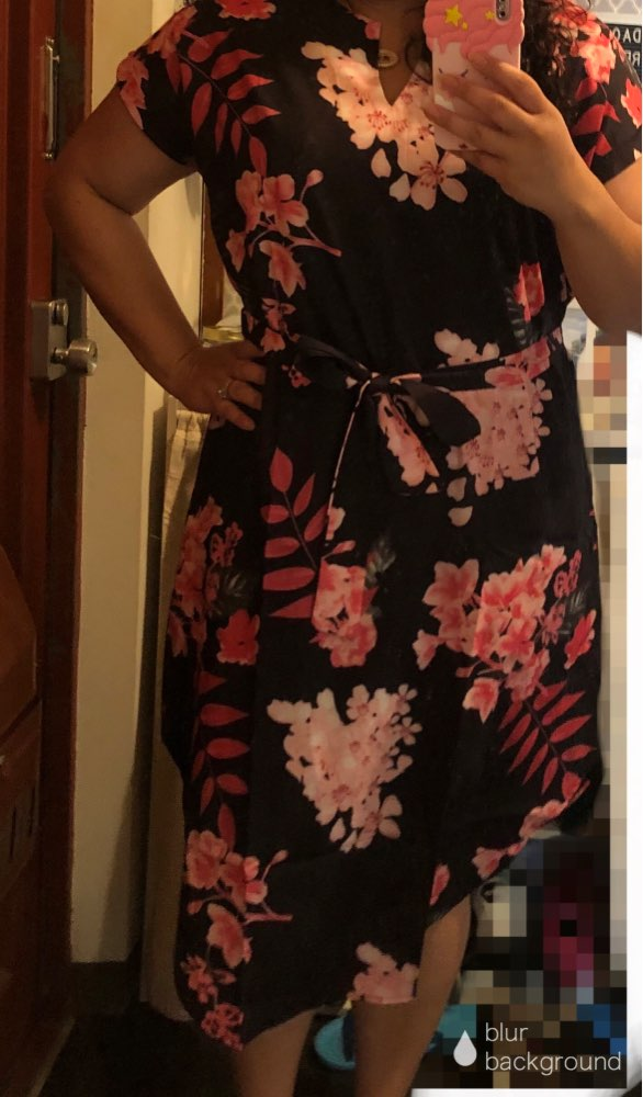 Plus Size Elegant Floral Print Straight Belted Dress Women  Summer Casual Roll Up Sleeve Boho Midi Dresses photo review
