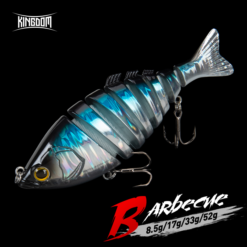 Kingdom Hot Barbecue Fishing Lures 6&8 Joint Hard Baits 65mm 90mm 120mm 140mm Sinking Wobblers Realistic Swimbaits Lure For Bass