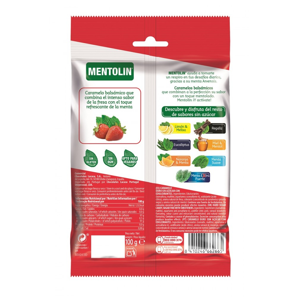 Mentolin Strawberry & mint without sugar · 100g.
