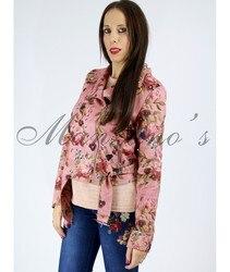 Woven jacket BIKER Casual EFFECT EMBOSSED SUEDE PINK To Women de Fashion Autumn Elegant woven jacket Jacket