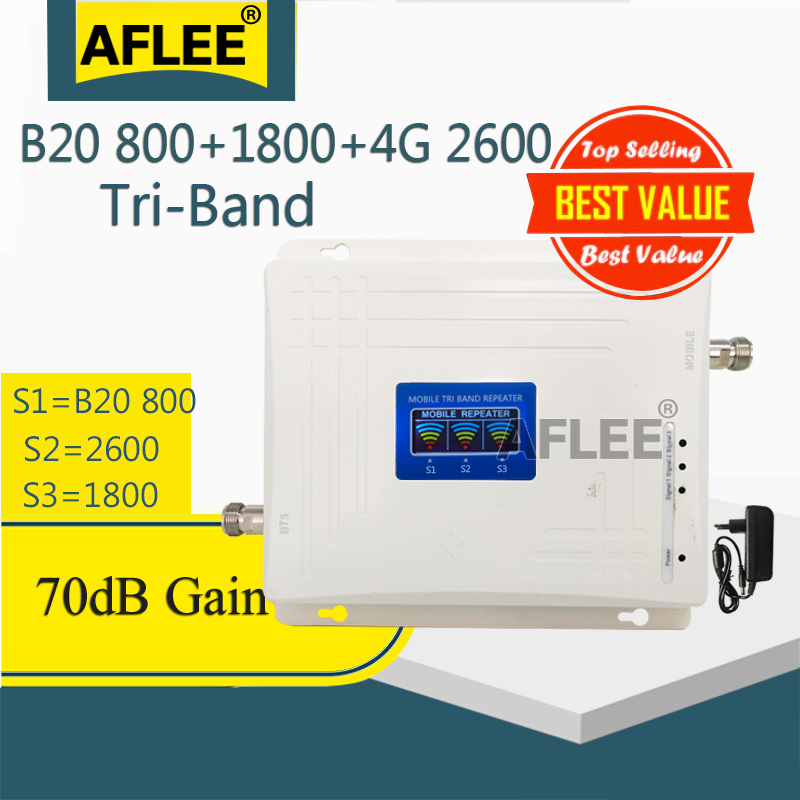 Tri-Band B20 800 1800 2600 4G Cell Phone Cellular Amplifier 4G Repeater GSM 2g 4g Mobile Signal Booster LTE DCS LTE 4G Repeater 1