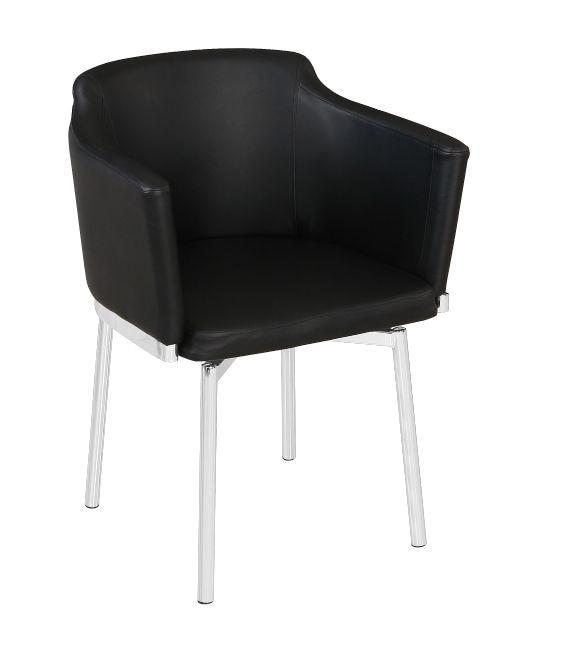 Armchair CHARLES, Chrome, Swivel Seat, Similpiel Black