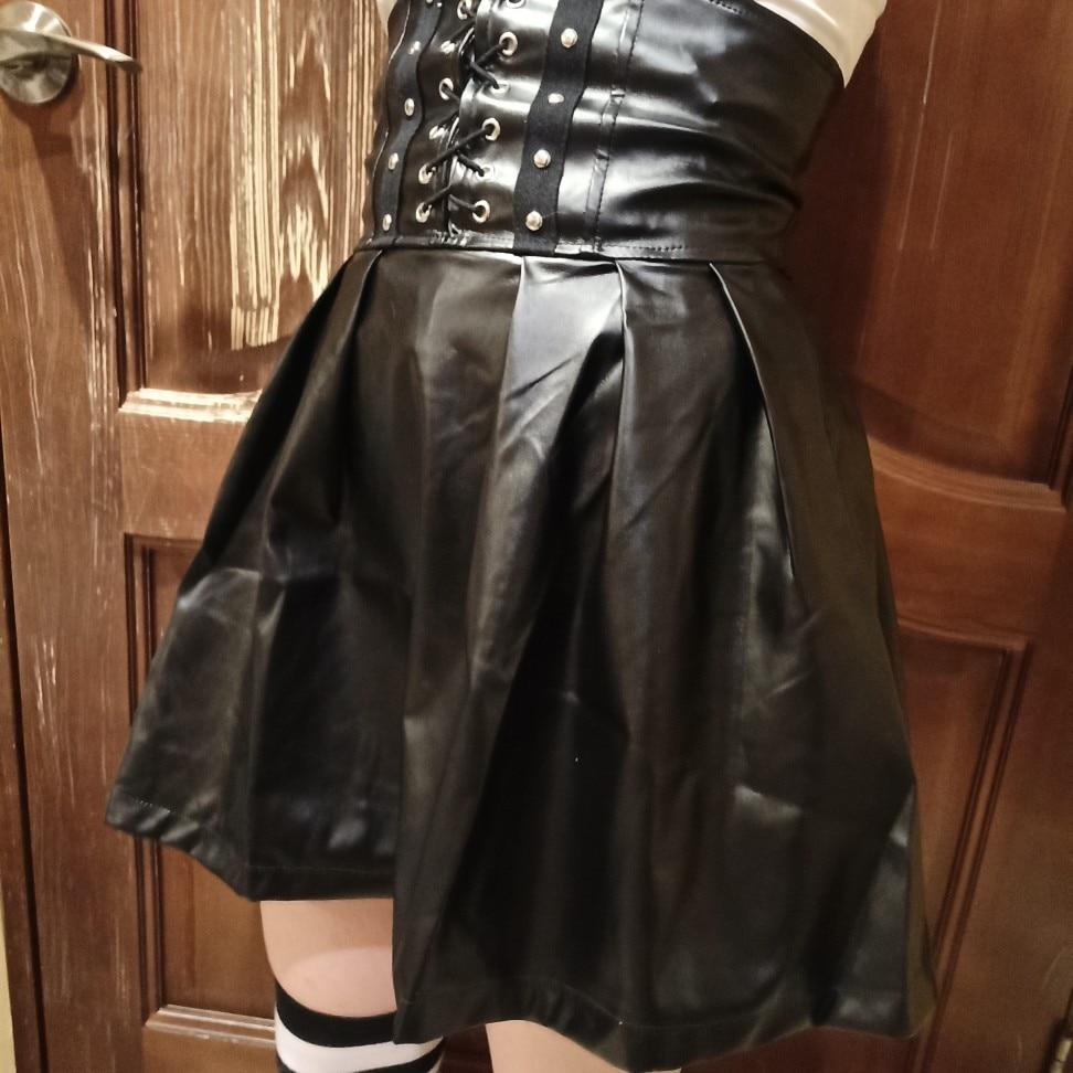 SUCHCUTE Women's Skirts Gothic Harajuku Bandage Faux Leather Korean Fashion Black Mini Pleated Skirts 2020 Summer Party Pu Saias Skirts    - AliExpress