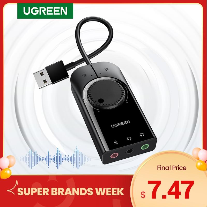 Внешняя звуковая карта Ugreen, USB аудио интерфейс, 3,5 мм выход для микрофона, аудио адаптер, звуковая карта для ноутбука PS4 гарнитура USB